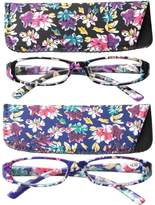 SOOLALA 4-Pair Designer Fashionable Spring Hinge Rectangular Reading Glasses w/ Matching Pouch, 4pcs, +1.0