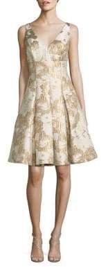 Aidan Mattox Floral Jacquard Cocktail Dress