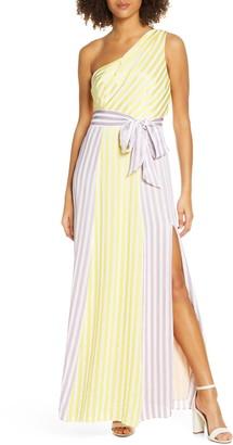 Foxiedox Kinsley Stripe One-Shoulder Maxi Dress