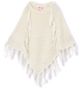 Pink Angel Off-White Fringe Poncho - Infant