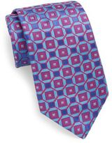 Ike Behar Square-Print Silk Tie