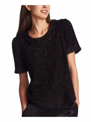 1 STATE Womens Black Printed Short Sleeve Jewel Neck T-Shirt Evening Top Size: XS