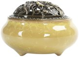 Fenteer Incense Burner with Alloy Cover Porcelain Decorated Charcoal Censer Cones Coil Joss Stick Ceramic Incense Ash Catcher Tray Bowl