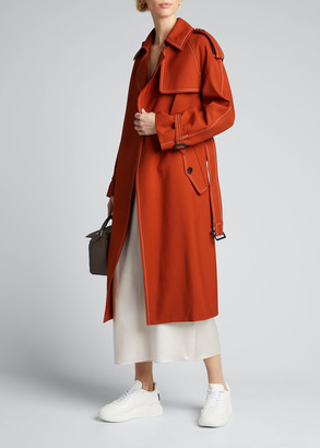 Marni Contrast-Stitched Wool Trench Coat