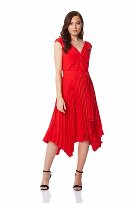 Roman Originals Women Pleated Hanky Hem Midi Dress - Ladies V-Neck Short Sleeve Twist Front Asymmetric Wedding Guest Special Occasion Formal Evening Midi Dresses - Red - Size 12