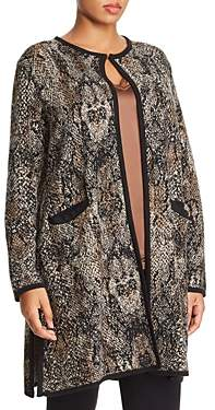 Marina Rinaldi Malibu Snakeskin Jacquard Pattern Cardigan