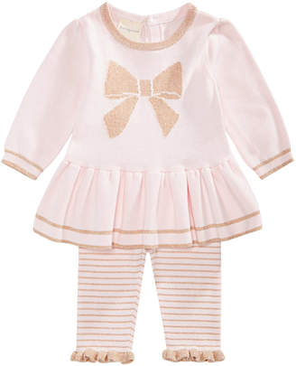 First Impressions Baby Girls 2-Pc. Bow Sweater Tunic & Striped Tights Set