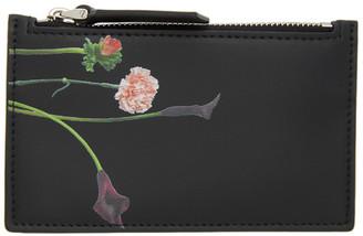 Valentino Black Garavani Floral Zip Card Holder