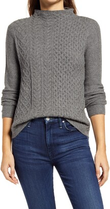 Caslon Mixed Cable Knit Sweater