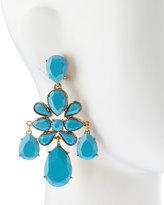 Oscar de la Renta Faceted Chandelier Clip-On Earrings, Turquoise