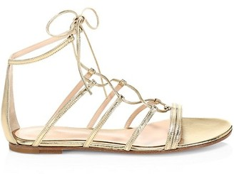 Gianvito Rossi Metallic Leather Gladiator Sandals