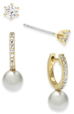 Eliot Danori 2-Pc. Set Crystal & Imitation Pearl Earrings, Created for Macy's