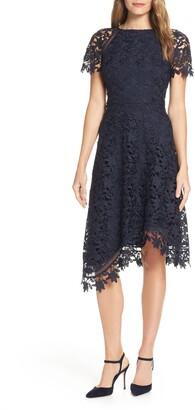 Eliza J Cap Sleeve Asymmetrical Lace Midi Dress