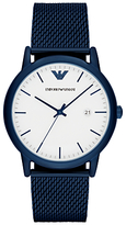 Emporio Armani AR11025 Men's Date Bracelet Strap Watch, Navy/White