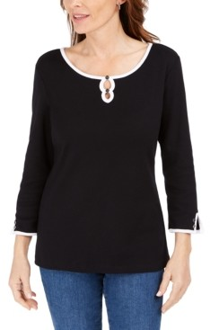 Karen Scott Petite Cotton Double-Keyhole Top, Created for Macy's