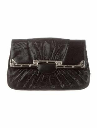Judith Leiber Snakeskin Embellished Evening Bag Black