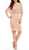 Gianni Bini Leah Off-the-Shoulder Popover Lace Sheath Dress