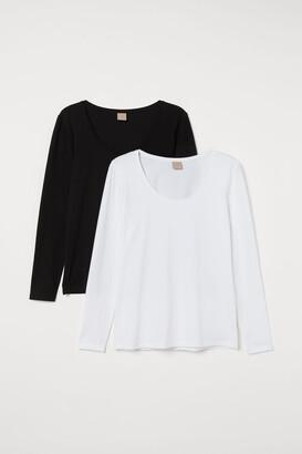 H&M H&M+ 2-pack Jersey Tops - Black
