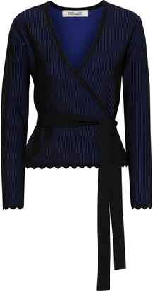 Diane von Furstenberg Laura Ribbed Jacquard-knit Wrap Top