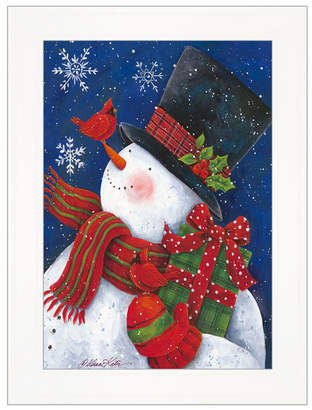 "Trendy Decor 4U Cheery Snowman with Present by Diane Kater, Ready to hang Framed Print, White Frame with Iron Easel, 11"" x 16"""