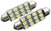 Elite Mailers - 2 Pieces 12-SMD 3528 SMD LED Chip Festoon 42mm to 44mm Light Bulbs D42-D44 - Brilliant
