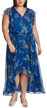 Vince Camuto Plus Size Floral-Print High-Low Dress