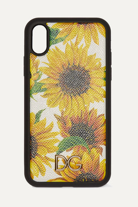 Dolce & Gabbana Floral-print Textured-leather Iphone Xr Case - Yellow