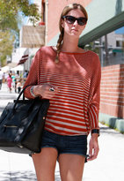 Cut Out Back Top in Red Stripe - by Woodleigh