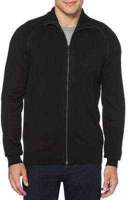 Perry Ellis Full-Zip Cotton-Blend Sweater
