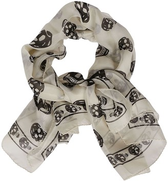 Alexander McQueen All-Over Skull Print Scarf