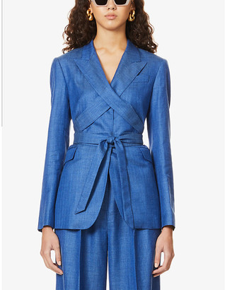 Gabriela Hearst Nutter peak-lapel wool, silk and linen-blend jacket