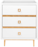Worlds Away 3-Drawer White Lacquered Side Table With Base