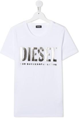 Diesel TEEN metallic logo print T-shirt