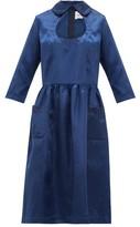 Comme des Garcons Cut-out Peter-pan Collar Satin Dress - Womens - Navy