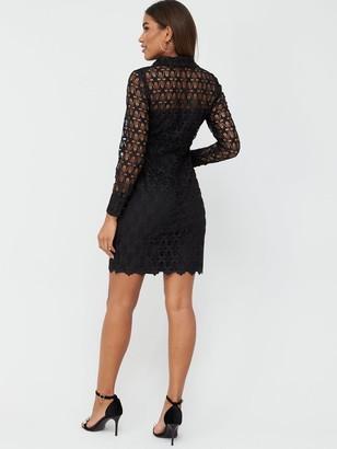 Very Lace Short Shirt Dress - Black
