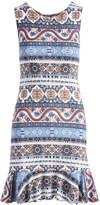 Glam Blue & Tangerine Abstract Stripe Ruffle-Hem Shift Dress