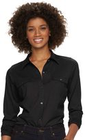 Chaps Women's Solid Knit Button-Down Shirt