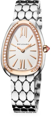 Bvlgari Serpenti Seduttori 18K Rose Gold, Stainless Steel & Diamond Bracelet Watch