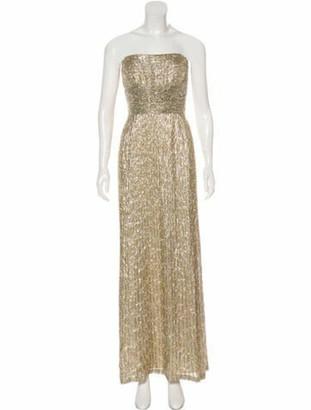 Oscar de la Renta Embellished Metallic Gown Gold