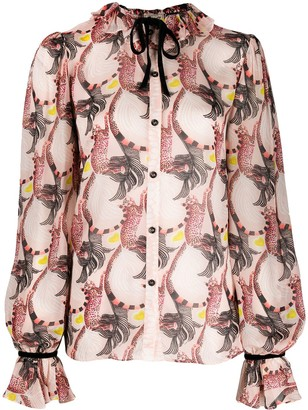 Temperley London Maggie feather-print shirt