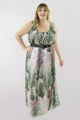 Marée Pour Toi Scoop Neck Top Pleated Maxi Dress w/ Pleather Belt in Green Size 18