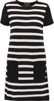 Autumn Cashmere Suede-paneled striped cotton mini dress