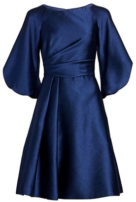 Theia Off-the-Shoulder Puff-Sleeve Fit-&-Flare Dress