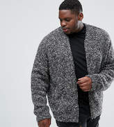 Asos Plus Heavyweight Knitted Textured Bomber In Charcoal