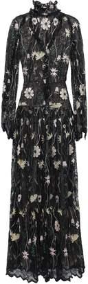 Giambattista Valli Pleated Embroidered Metallic Lace Gown