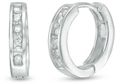 Zales 1/10 CT. T.W. Diamond Huggie Hoop Earrings in 10K White Gold