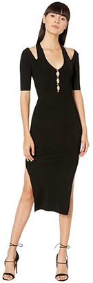 Versace Knit Short Sleeve Midi Dress with Cutout Back Detail (Black) Women's Clothing
