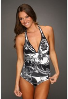 Tommy Bahama Paisley Halter Cup V-Neck One-Piece w/ Low Back (Black) - Apparel