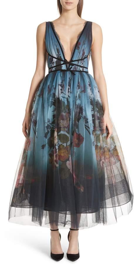 Marchesa Ombre Floral Print Tulle Tea Length Dress