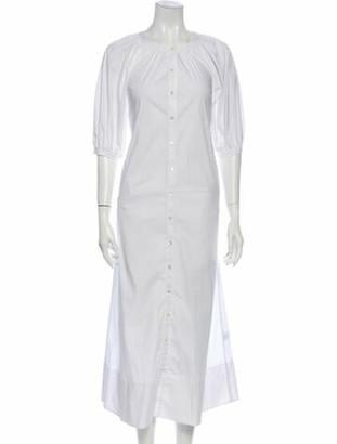 STAUD Crew Neck Long Dress White
